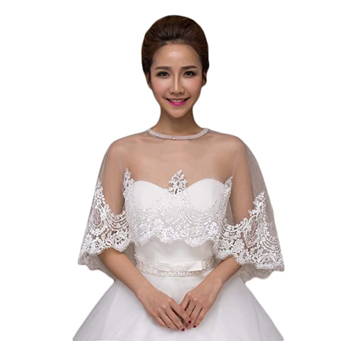 Alicehouse 2017 Womens Lace Beaded Wedding Shrug Bridal Dress
