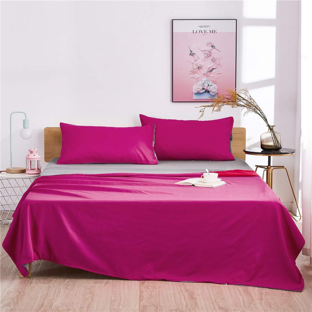 FeiliandaJJ 3-teilig Bettwäsche Set Einfache Feste Farbe Bettbezüge mit 2Pcs Kissenbezug Super Weiche Atmungsaktive Hypoallergen Bettwäsche Garnitur (260x230cm, Rot)