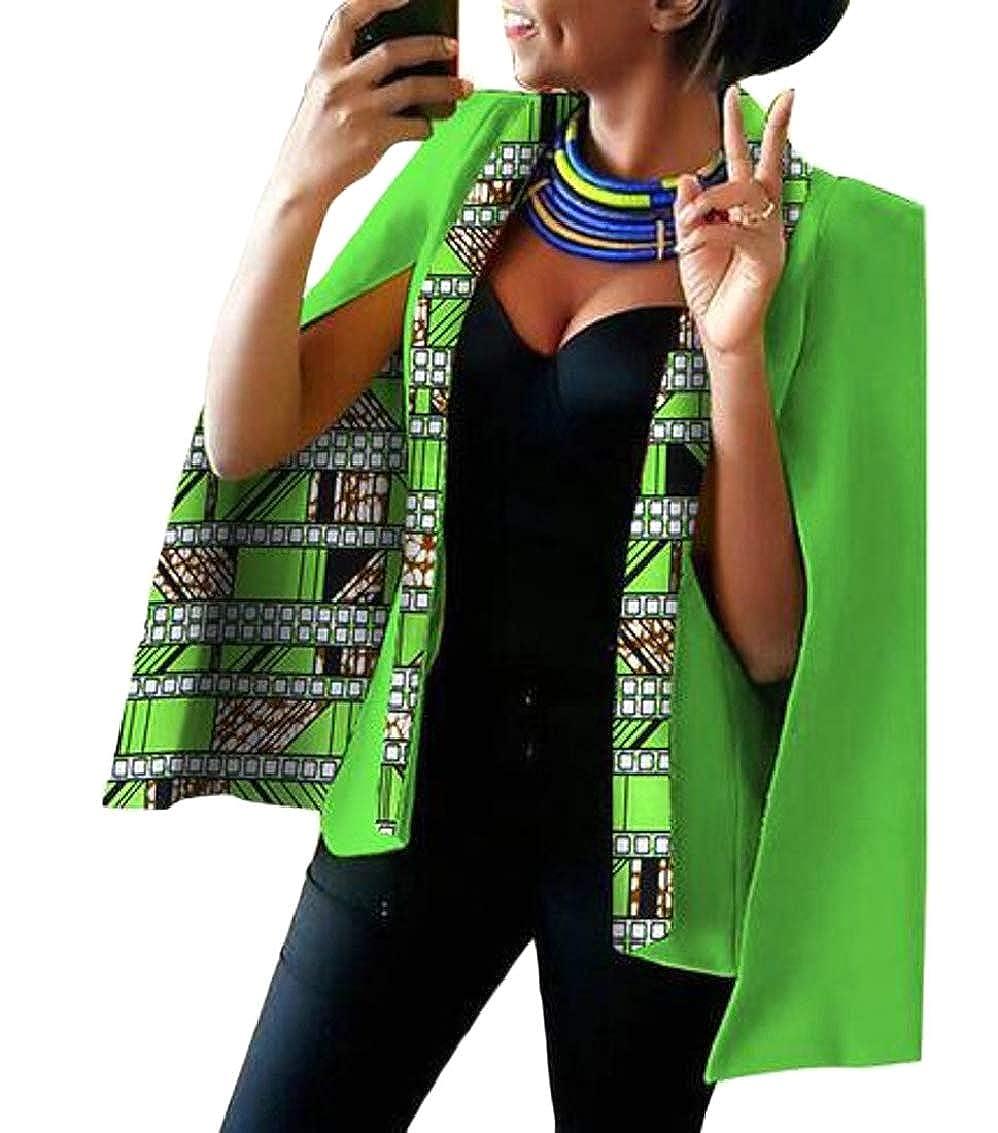 5 Women Casual African Print Shawl Split Sleeve Blazer Jacket Coats