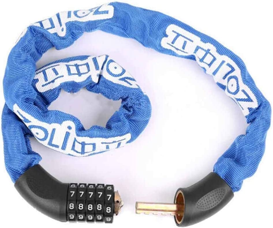 Mountain Bike Road Bike Lock Color : Blue HUIJUNWENTI Bicycle Lock Password Chain Lock Anti-Theft Lock Safe and Reliable,