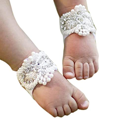 Voberry 1Pair Fashion Beautiful Baby Girls Pearl Barefoot Toddler Foot Flower Beach Sandals (A)
