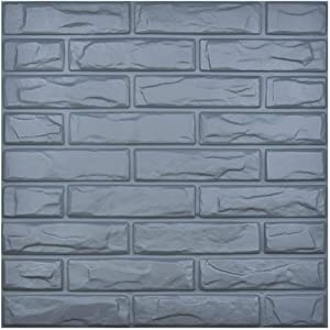 Art3d PVC 3D Wall Panel Brick Concrete Gray Cover 32 Sqft, for Interior Wall Décor in Living Room,Bedroom,Lobby,Office,Shopping Mall