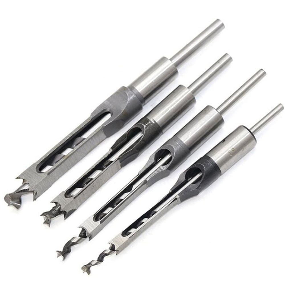 Breynet Woodworker Square Hole Drill Bits Mortising Chisel Set,4pcs Woodworking Hole Saw Mortise Chisel Drill Bit Kit Tool Set 1/4'' 2/5'' 3/8'' 1/2''