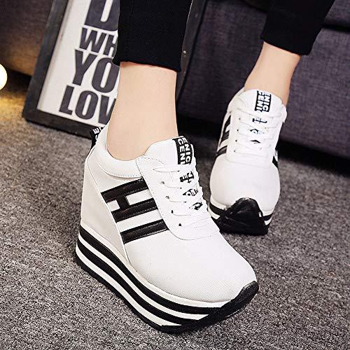 Blanc Bateau Femme Basket Semelle Décontracté Toile Epaisse Compensée Plateforme Mode Chaussure Wealsex Sneakers BRnxz7x