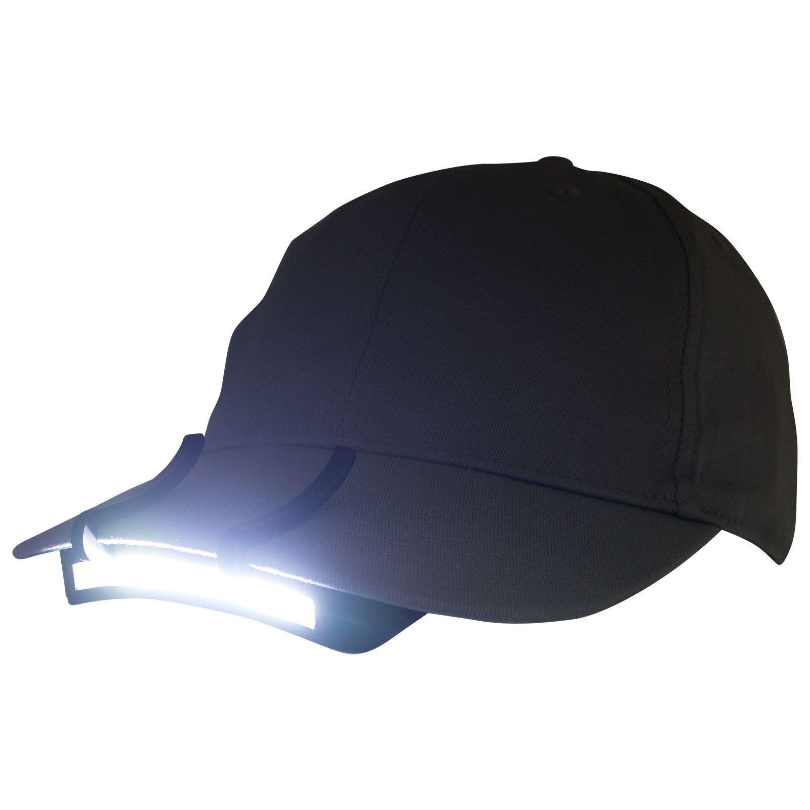 2 PACK - 400 Lumen Hi Mode / 180 Lumen Low Power Mode (2 X Cap Lights > 2 X Power & 2 X Bright) COB LED Clip On Cap Light DOUBLE BRIGHT (100% MFG Guarantee) (Black) by Apollo's Products (Image #5)
