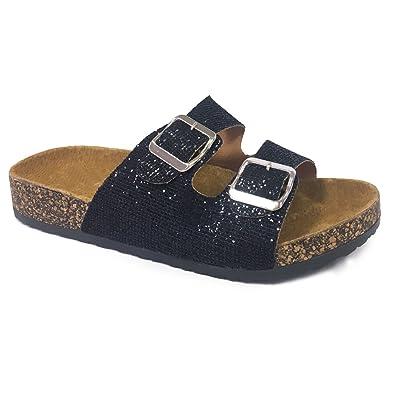 c29c37e78f2493 Women Casual Buckle Straps Sandals 05 US (Black Glitter-A)