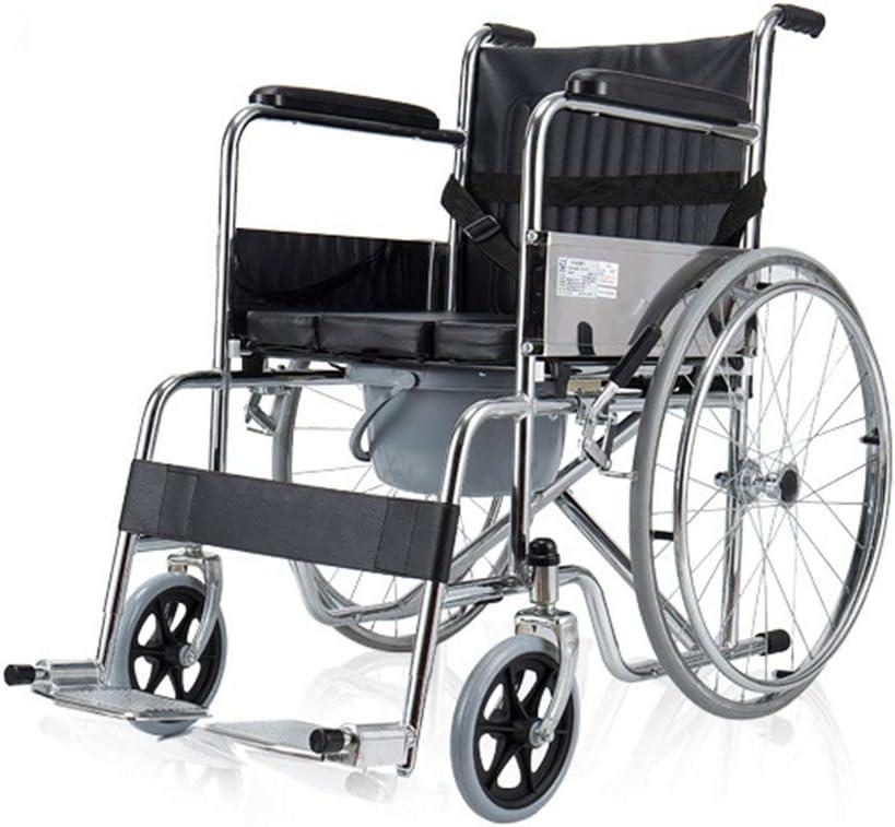GODLOVEYOU Carretilla autopropulsada para Silla de Ruedas con Orinal para Silla de baño para Ancianos discapacitados Walker Multifuncional