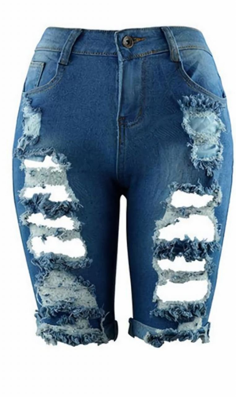 graffiti jp Womens Casual Damage Shorts Jeans (Large, Blue)