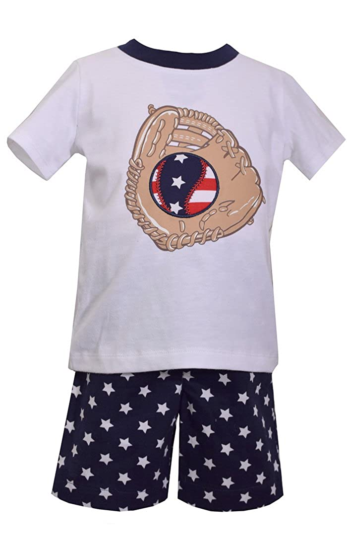 0m-4t Bonnie Jean Matts Scooter Boys Patriotic Baseball Shorts Set