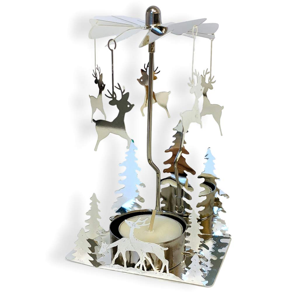 BANBERRY DESIGNS Spinning Metal Candle Holder - Reindeer Charms Spin Around When Candle Is Burning - Christmas Trees - Scandinavian Design - Rotary Candle Holder - Christmas Candle Holder 9568
