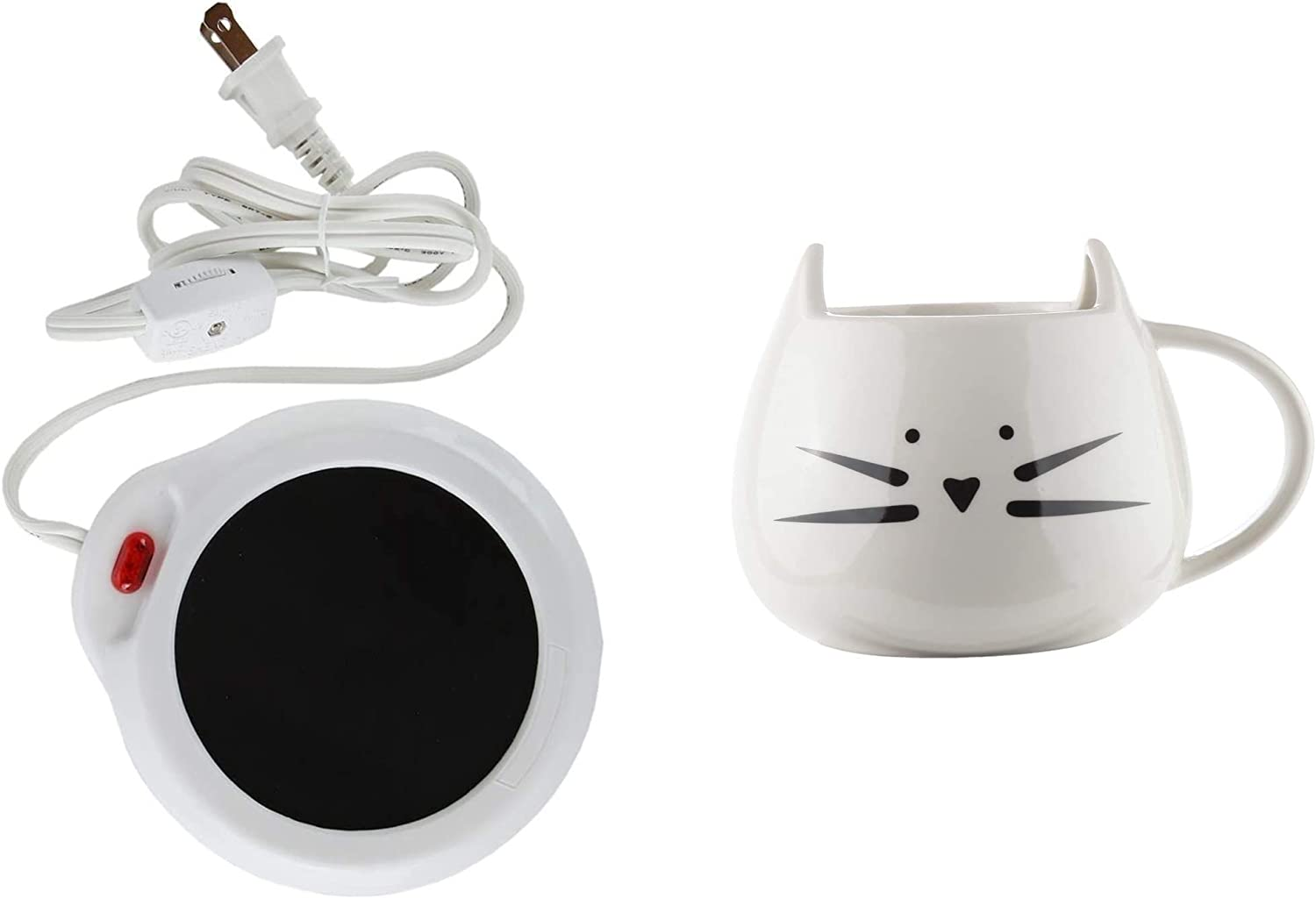 Home-X Desktop Mug Warmer (White) and Ceramic Cat Coffee and Tea Mug, The Perfectly Fun Kitchenware Gift for All Cat Lovers for Any Occasion at Any Meal, White