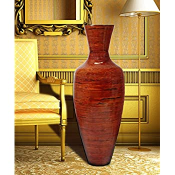 Amazon 43 Tall Bamboo Floor Vase Red And Natural Home Kitchen