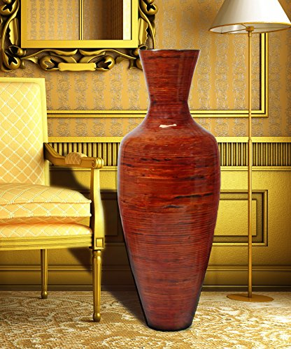 37.5'' Tall Bamboo Floor Vase, Glossy Red by Uniquewise