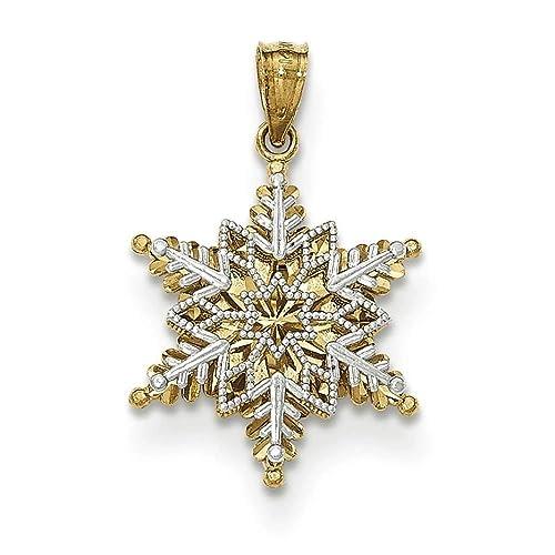 14k Two-tone Polished /& Textured 2 Level Snowflake Pendant