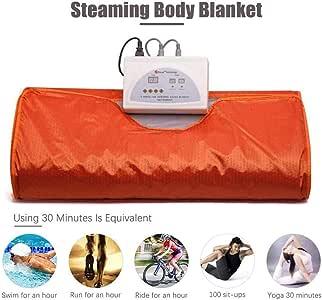 ETE ETMATE Sauna Blanket, 2 Zone Controller Body Shaper Weight Loss Professional Sauna Slimming Blanket Detox Therapy Anti Ageing Beauty Machine (Orange)