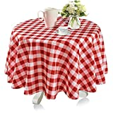 YEMYHOM Modern Printed Spill Proof Cloth Round Tablecloths (60'' Round, Red and White)