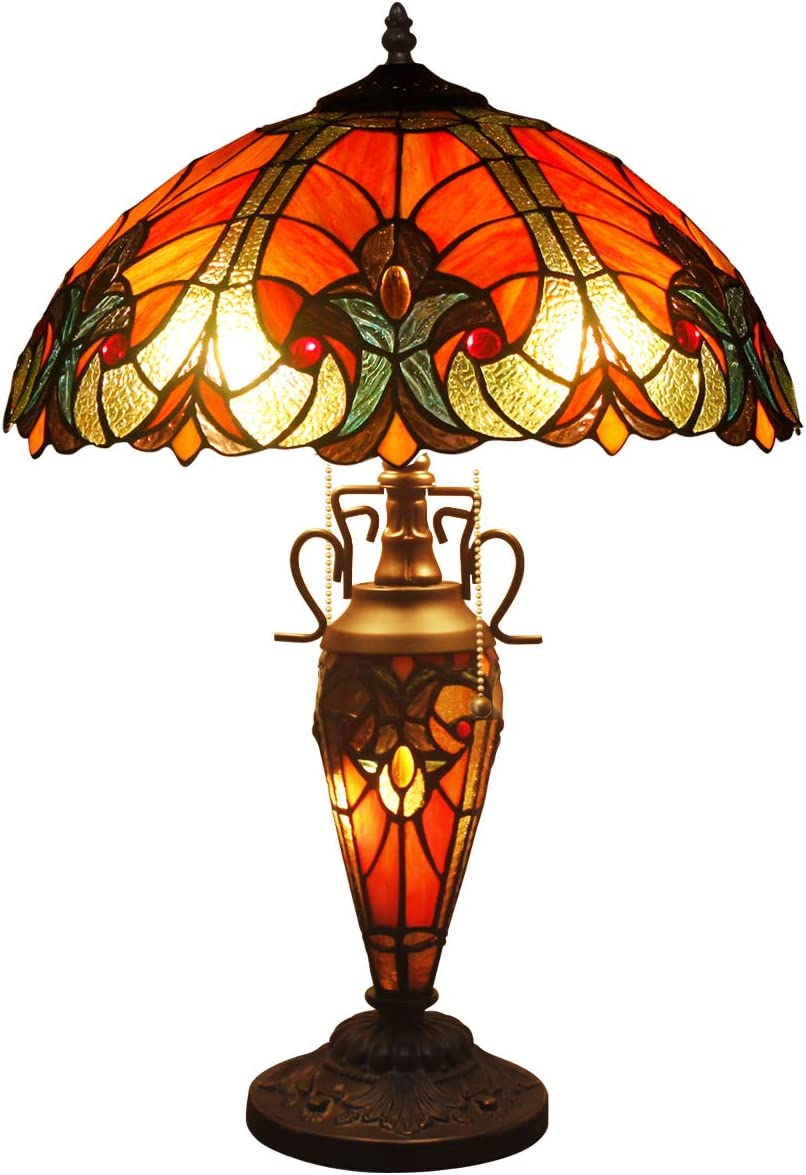 Tiffany Lamp Red Liaison Stained Glass Style Shade Night Light Base 2E26 1E12 24 Inch Tall for Living Room Bedroom Coffee Table Reading Desk Beside Reading S160R WERFACTORY