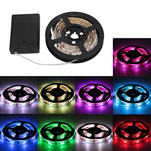 FISHBERG Waterproof IP65 Flexible Strip Light 100cm/3.3FT RGB 5050 SMD 30 Leds Strip Lights with battery Box Powered Controller Crafts Lights (Multi-color)