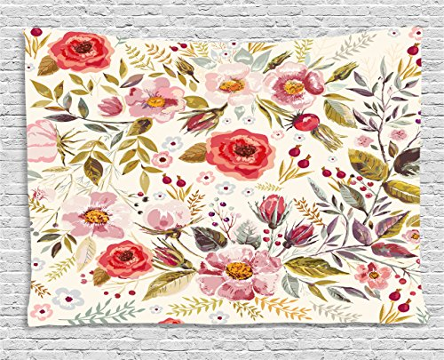 Floral Vintage Tapestry (Floral Tapestry by Ambesonne, Hand Drawn Watercolor Style Flowers Roses Blooms Leaves Romantic Vintage Artwork, Wall Hanging for Bedroom Living Room Dorm, 60 W X 40 L Inches, Multicolor)