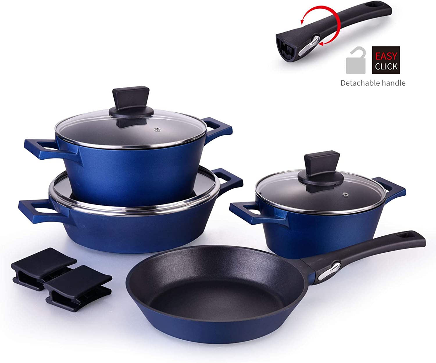 MGUOGUO 10 Piece Cookware Set Nonstick Pots and Pans Set Kitchenware Induction Soup Pot with Lid, Removable Handle Skillet Pan, Suitable for All Stoves Dishwasher Safe, Anti-Scalding Silicone, Blue