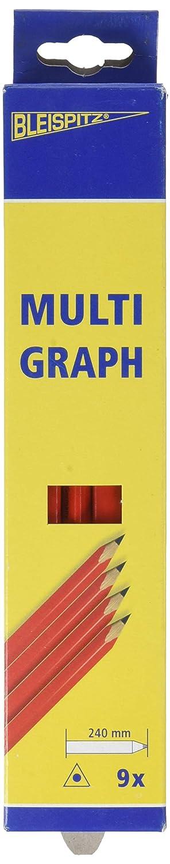 Dicoal Jeu Lapiz Multigraph Corps Rouge/Noir, Lot de 9 396