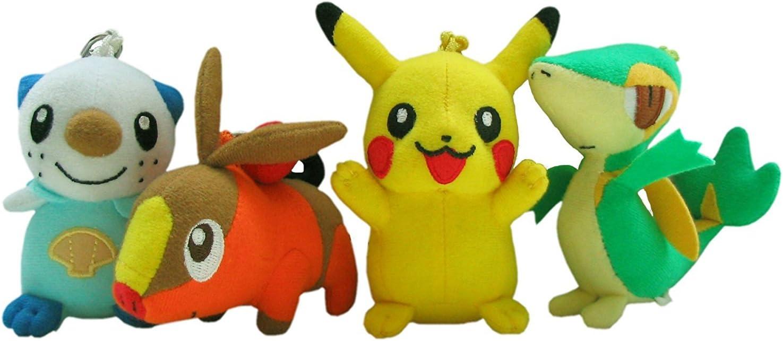 Pok/èmon JUEGO COMPLETO 4 Peluches Felpa LLAVERO 10cm Pikachu Oshawott Tepig Snivy ORIGINAL Tomy