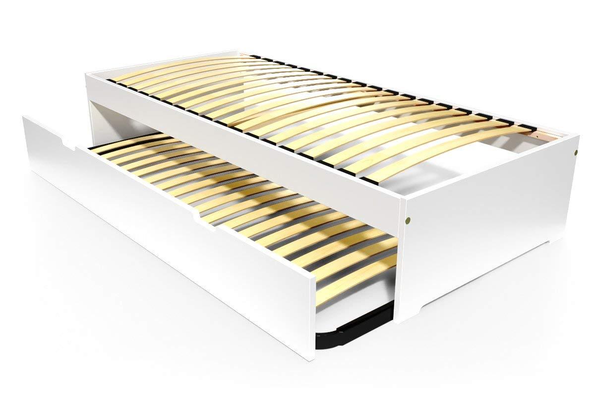ABC MEUBLES - Ausziehbett Malo 90x190 cm Holz - TOPMALO90 - Weiß, 90x190