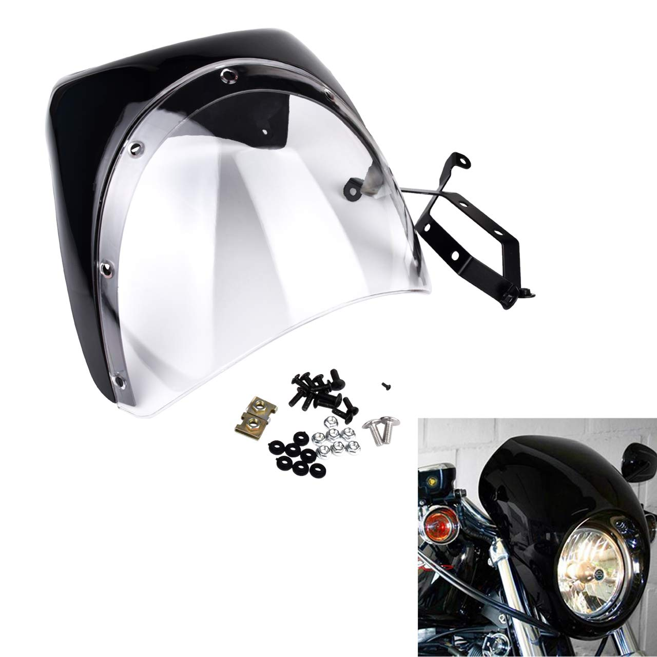 Black With Smoke Lens KATUR Motorcycle 7 Headlight Protector Fairing Windshield Kit Universal Screen Cafe Racer Style Fit for Harley Dyna Sportster 1200 883 FLHT Bobber Touring