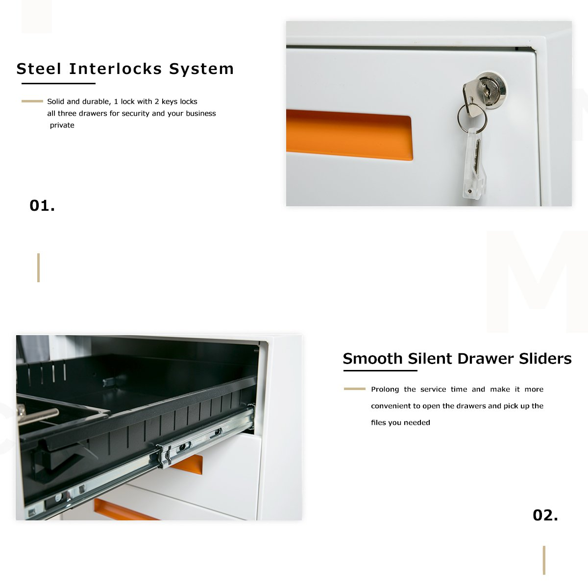 Merax Metal Solid Mobile Storage 3 Drawer File Cabinet Lock Picking Diagram With Keys Fully Assembled Except Casters White And Orange Office Products