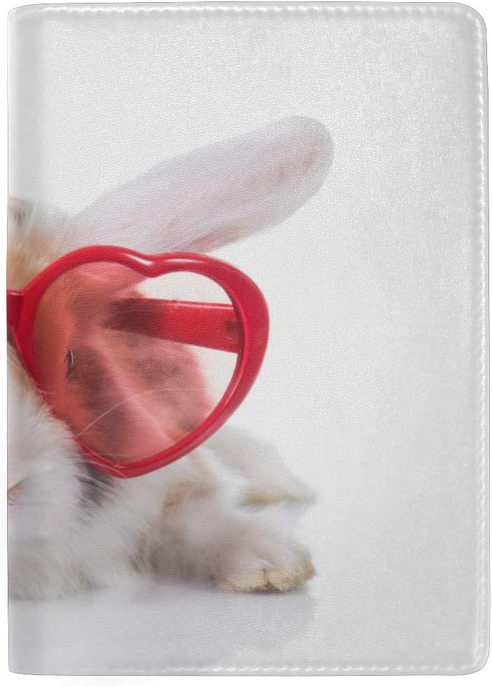 Lovely Rabbit With Girls And Boys Blocking Print Passport Holder Cover Case Travel Luggage Passport Wallet Card Holder Made With Leather For Men Women Kids Family