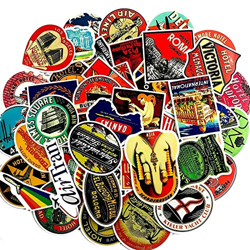 55Pcs/Set Global Travel Retro Graffiti Stickers International Hotel Popular Logo Sticker for Luggage Laptop Fridge Notebook Car