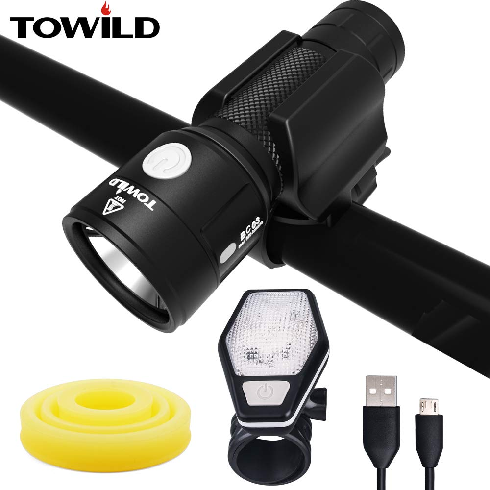 Bicycle Front Light Flashlight 950 Lumens USB Cable Rechargeable, Wide Visible beam scope, Extended Runtime, Dual Modes of Bicycle light and Tactical Flashlight, Side Red Warning Light BC03 Black