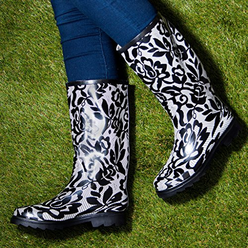 Welly Rain Knee Flat Lace Boots High Women's MOANNA SPYLOVEBUY White OXBqfRw
