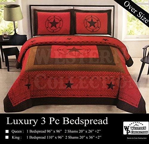 Luxury Star Comforter Set - Western Peak 3 Piece Western Texas Lone Star Cabin Lodge Barbed Wire Luxury Quilt Bedspread Coverlet Comforter Maroon Brown Set (Queen)