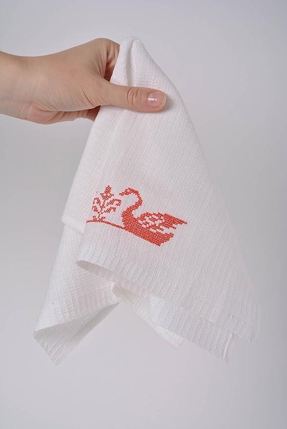Juego de hecho a mano algodón blanco servilletas con para máquina de coser 6 piezas cisnes: Amazon.es: Hogar