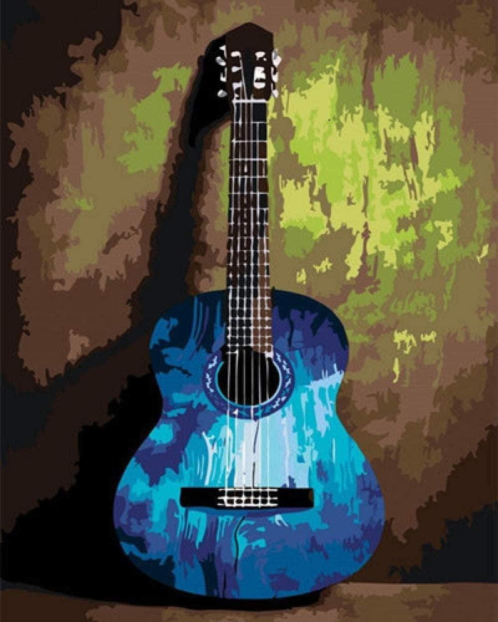 Cuadro De Pintura Digital Diy Por Número Kit De Lienzo De Pintura Al Óleo Digital Para Adultos Cuadro De Guitarra Regalo Para Principiantes Con Pintura Y Pincel