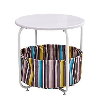 OSPI 2 Tier Side Table/ End Table With Storage Canvas Basket (2 Tier