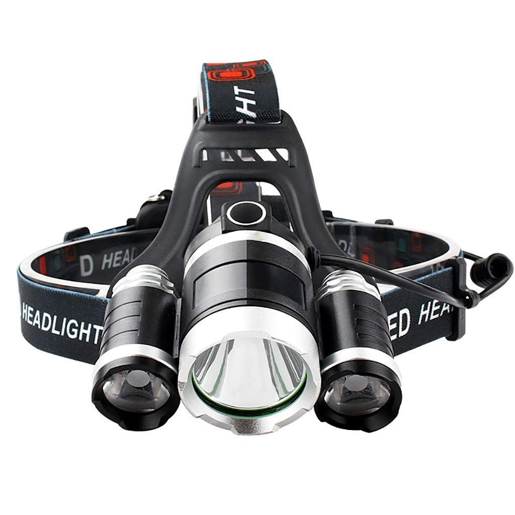 head Lamp LED Lámpara De Cabeza DC Recargable con 3 Modos De 4 Luces 6000 Lúmenes Super Brillante LED Linterna Frontal Linterna De para Camping Pesca Ciclismo Carrera Caza