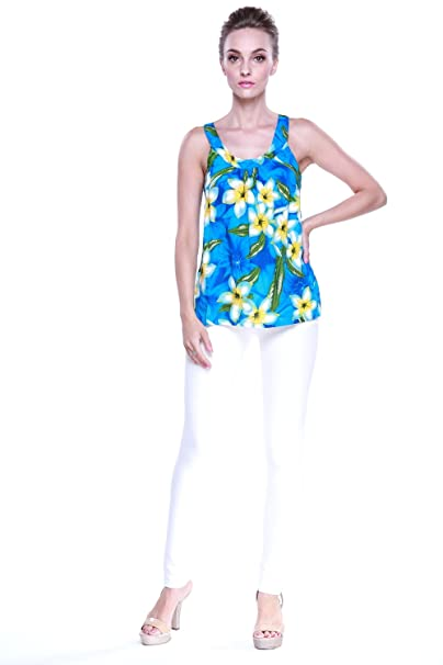 51ea10e663b2b Aloha Fashion Women s Hawaiian Floral Tank Top in Turquoise with Yellow  Floral L
