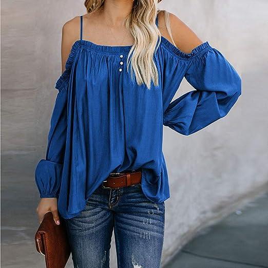 Luckycat Blusas para Mujer, Camisas Color SóLido Mujer del Hombro Cintura Blusa Manga Corta Camisetas Casuales Tops Camisas de Mujer Elegantes de Fiesta: ...