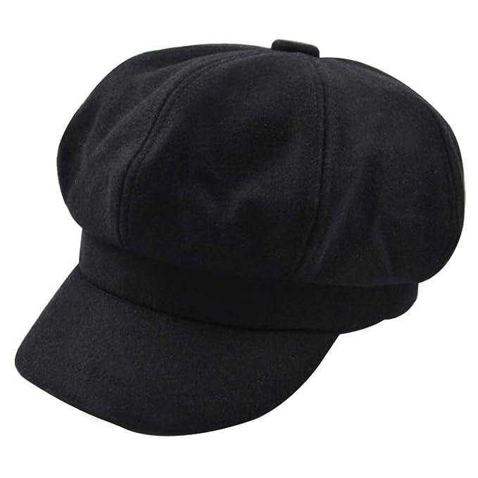 4c0ea9d0bf18a Monique Women Vintage Wool Newsboy Cap Cabbie Hat Fashion Visor Beret Cap  Wide Brim Peaked Cap