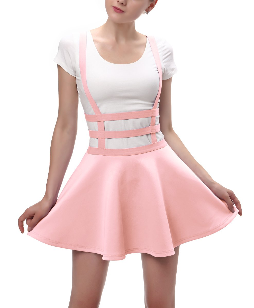 Urban CoCo Womens Elastic Waist Pleated Short Braces Skirt (Large, Pink) by Urban CoCo