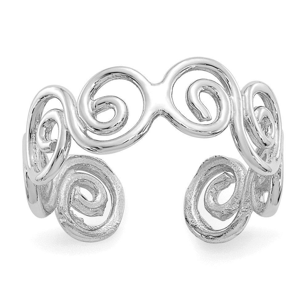 Roy Rose Jewelry 14K White Gold Swirl Toe Ring