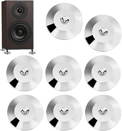 Gun-Color Platin Speaker Isolation Pad 8 Pcs 25 x 4mm Universal Copper Speaker Shock Base Pad Isolation Feet Mat Floor Disc ASHATA Speaker Feet