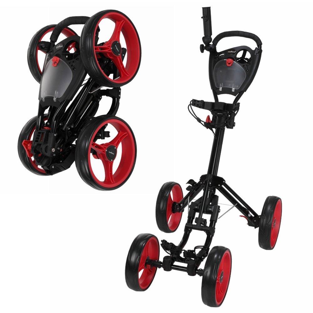 Caddymatic Golf Quad 4-Wheel Folding Golf Pull / Push Cart Black/Red by Caddymatic (Image #1)