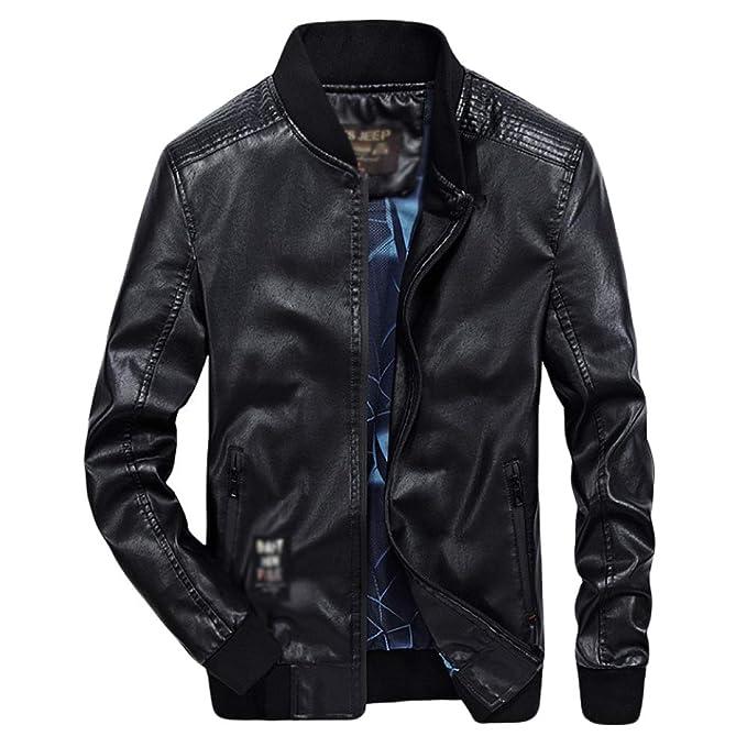 Abrigo De Hombre Abrigo Collar Puños Elásticos Abrigos Manga Larga con Cremallera Bolsillo Abrigo Moto Rider Coat Biker Jacket: Amazon.es: Ropa y accesorios
