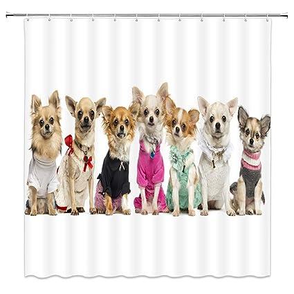 Pet Dog Chihuahua Shower Curtain Cute Animal Theme White Brown Bathroom Decor For Home 70 X