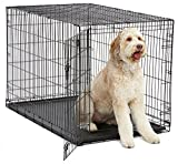 XL Dog Crate | MidWest iCrate Folding Metal Dog Crate w/ Divider Panel, Floor Protecting Feet & Leak-Proof Dog Tray | 48L x 30W x 33H Inches, XL Dog Breed, Black
