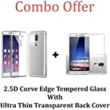 M.G.R.J Coolpad Cool 1 Transparent Back Cover + Ballistic Tempered Glass Screen Protector - Maximum Impact Protection - 99.9% Crystal Clear HD Glass - No Bubbles