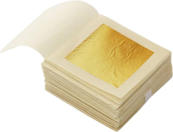Iswell Edible 24K Gold Leaf Sheets 10 Pcs 8 X 8 Cm Pure Genuine Facial Edible Gold Leaf For Cooking Cakes /& Chocolates Decoration Health /& Spa